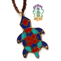 Friend Of Mine Metal and Stone Inlay Turtle Pendant Necklace