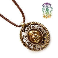 Meditating Buddha 2-Sided Metal Pendant Necklace