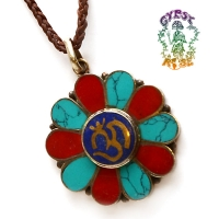SACRED FLOWER OM & GARDEN GEMSTONE PENDANT NECKLACE