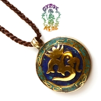 Essential Om Brass Pendant w/ Stone Inlays Necklace