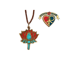LOTUS AWAKENING BRASS PENDANT W/STONE INLAY ON BRAIDED WAX CORD NECKLACE