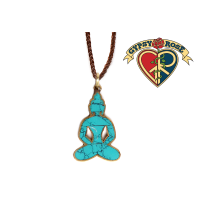 MEDITATIVE BLISS BRASS BUDDHA PENDANT W/STONE INLAY ON BRAIDED CORD NECKLACE
