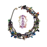 Shake Rattle & Roll Six Row Glass Bead Necklace
