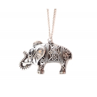 Cutout Flowered Elephant Necklace
