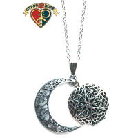 Silver Filigree Moon Diffuser Necklace