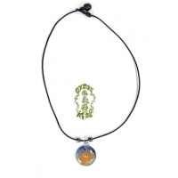 GLASS SUN FACE PENDANT ON CORD NECKLACE