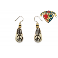 PEACE ARROW TEARDROP BONE EARRING
