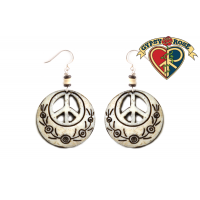 PEACE SYMBOL CUTOUT CARVED BONE EARRINGS