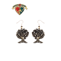 SACRED TREE CARVED BONE EARRINGS