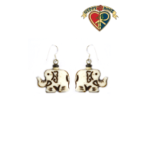 Keep On Trunkin Elephant Carved Bone Earrings