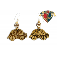 Beetle Bug Car Carved Bone Earrings