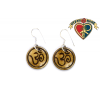 Om Circle Carved Bone Earrings