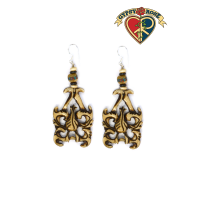 Cutout Tribal Design Carved Bone Earrings