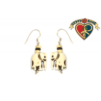 Baby Elephant Carved Bone Earrings