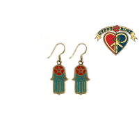 Hamsa Hand with 5 Point Star Crushed Stone Inlay Metal Earrings