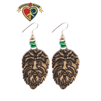 Green Man Hand Carved Bone Earrings