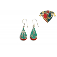 Teardrop Crushed Gemstone Inlay And Metal Earrings