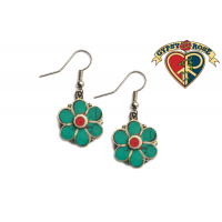 Daisy Gemstone Inlay And Metal Earrings