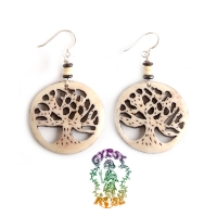 Life's Force Tree Carved Bone Earrings