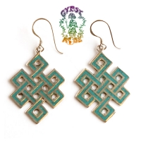 Silvertone Endless Knot Earrings w/ Stone Inlays