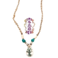 TURQUOISE INLAY TREE OF LIFE BONE PENDANT NECKLACE