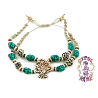 HEMP BEADED DOUBLE STRAND BONE TREE OF LIFE BRACELET