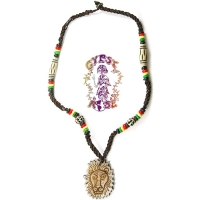 RASTA LION BEADED BONE NECKLACE