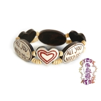 ALL YOU NEED IS LOVE STRETCH BONE BEAD BRACELET