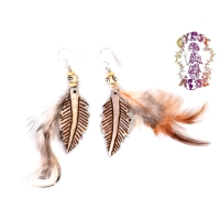 FEATHERY FIND BEAD & BONE EARRINGS