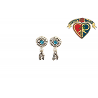 Silvertone Dreamcatcher Gem Earrings