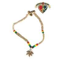 Rasta Leaf Carved Bone Pendant Hemp Anklet Bracelet