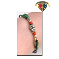 Buddha Bead With Turquoise and Colored Beads 3 Row Bracelet