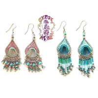 RIO HANDWOVEN THREADS GLASS DANGLE EARRINGS