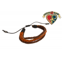 Rustic Brown Braided Leather Men Bracelet