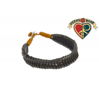 Braided Black Leather Men Bracelet
