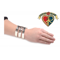 Offset Bands Shiny Cuff Bracelet