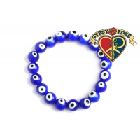 Blue Evil Eye Bead Bracelet