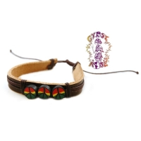 RASTA FIMO PEACE SIGNS ON LEATHER BRACELET