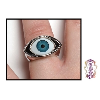 All Seeing Eye Glass And Metal Ring