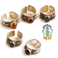 ANCIENT WISDOM ANTIQUE SILVER & GEMSTONE ADJUSTABLE RING