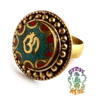 OM SWEET OM ANTIQUE BRASS AND GEMSTONE RING