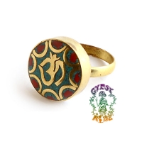 Carry Me Om Brass Ring w/ Stone Inlays