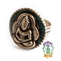 BUDDHA NIRVANA ANTIQUE SILVER & GEMSTONE RING