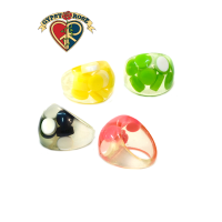 Sweet Candy Bead Embedded Round Plastic Ring