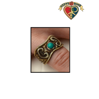 Turquoise Inlay Hand Carved Bone Ring