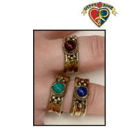 Ancient Wisdom 3 Color Metal with Gemstone Adjustable Ring