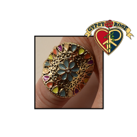 Round Multi Enamel Flower Ring