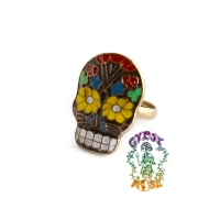 Hazy Daisy Sugar Skull Adjustable Ring