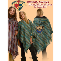 Grateful Dead Bear Face Brushed Gheri Cape Poncho