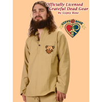 Grateful Dead Bear Face Hand Emb Pocket Cotton Henley Shirt